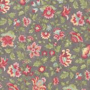 Moda - Porcelain - 3 Sisters - 6328 - Flourish. Floral on Grey - 44191 12 - Cotton Fabric